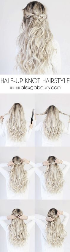 Half-up Knot Hairstyle, halfup knot hairstyle, alex gaboury, luxy hair extensions, pictorial, simple hair tutorial #HairTutorials