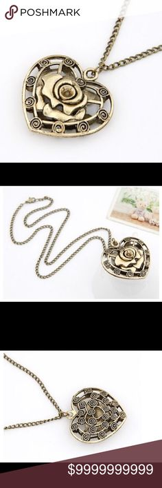 Vintage Gold Tone Rose Heart Pendant NecklaceAll Prices Are Firm Unless Bundled  I Offer 30% Off All Bundles of 2+  Jewelry Necklaces