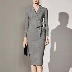 5fd2e48ab94e Women Office Vintage Elegant Dresses Body-con Midi Long Sleeve Dress – Ozzy  Bella All