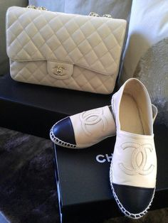 Chanel handbags are a favourite with celebrities and the style pack alike for the instant way they add chic style to any outfit. We showcase our favourite Chanel bags. Chanel Espadrilles, Chanel Flats, Chanel Caviar Bag, Chanel Clutch, Leather Espadrilles, Zapatos Shoes, Shoes Heels, Shoe Boots, Designer Shoes