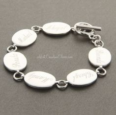 Silver Mother's Bracelet with Engraved Children's names | Mothers Jewelry