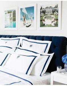 design darling slim aarons prints and matouk lowell bedding Bedding Master Bedroom, Bedroom Sets, Bedroom Decor, Bedrooms, White Bedding, White Bedroom, Modern Bedroom, Slim Aarons Prints, Monogram Bedding