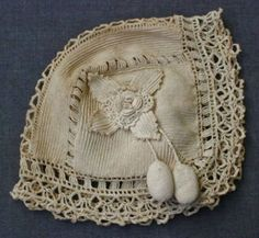 antique crocheted baby bonnet w/Irish crochet detail ... ca. 1910