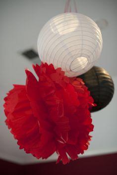 white & black lanterns and red pom pom for Minnie party