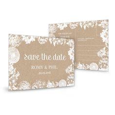Blumige Save the Date Karte zur Hochzeit auf Kraftpapier