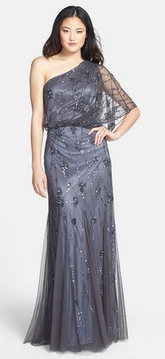 Adrianna Papell Beaded One Shoulder Blouson Gown (Regular & Petite) available at Comes in different colors Embellished Bridesmaid Dress, Embellished Gown, Grey Bridesmaids, Grey Bridesmaid Dresses, Mob Dresses, Formal Dresses For Women, Beaded Dresses, Formal Gowns, Divas