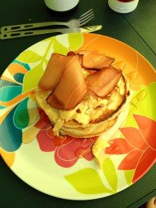 Vegetarian American Pancake Stack with Quorn Ham and Scrambled Eggs and Sweet Freedom for when only a veggie version will do! American Pancakes, Pancake Stack, Quorn, Scrambled Eggs, Facon, Ham, Freedom, Brunch, Veggies