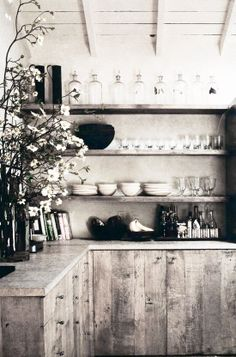 = wood kitchen with open shelving