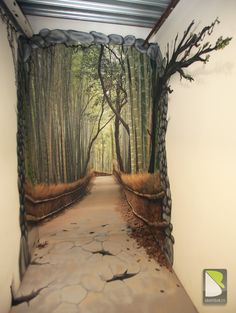 Trompe-l'oeil : Path in the forest by Philippe BARO