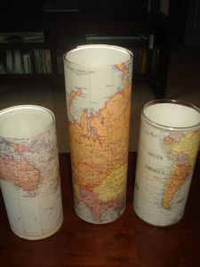 map vases (or could drop an LED light in here for a nice candle)