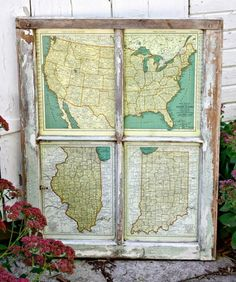 LOVE this old window and map idea! 20 Free Vintage Map Printable Images | Remodelaholic.com #art #printable #maps