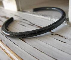 Mens Oxidized Hammered Silver Bracelet by HotRoxCustomJewelry, $140.00