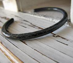 Mens Oxidized Hammered Silver Bracelet by HotRoxCustomJewelry, $140.00