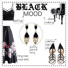 """""""black mood"""" by saramoradi210 ❤ liked on Polyvore featuring Chicwish, Valentino, Chanel and Givenchy"""