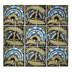 1890 William de Morgan Arts and Crafts Fan pattern tile panel. Painting Words, Tile Panels, Clay Tiles, Aesthetic Movement, Yellow Art, Fulham, Arts And Crafts Movement, William Morris, Tile Patterns