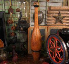 Primitive Antique Vtg Wooden 3 lb. Juggling Circus Club Exercise Bowling Pin #NaivePrimitive