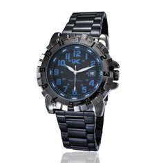 YAKI 3ATM Herren Uhr Blau Zifferblattf Armbanduhr Schwarz Analog Quarz Herrenuhr FA1291-BL