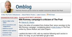 Mitt Romney's presidential election campaign outlined a series of complaints about the Washington Post's reporting, the newspaper's ombudsman reported June 22.