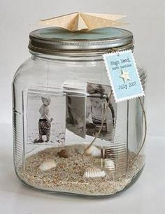 Summer souvenirs - Mediterranean decoration refreshes the living atmosphere - Fotogeschenke - DIY / Basteln - Christmas Gifts For Men, Homemade Christmas Gifts, Homemade Gifts, Christmas Diy, Handmade Christmas, Mason Jar Crafts, Mason Jars, Candle Jars, Photo Deco