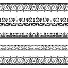 Vetor de hena sem fronteiras. Mehndi estilo. vetor e ilustração royalty-free royalty-free