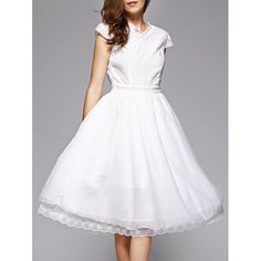 23.35$  Watch now - http://din6x.justgood.pw/go.php?t=188098204 - Trendy Lace Spliced V-Neck White Midi Dress For Women