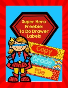Superheroes are a great classroom theme.  I've created a freebie that coordinates with my  Editable Superhero Pennants and Banners. This set includes a freebie for To Do Drawer Labels.  Just print, laminate, cut, and adhere.   .Looking for other super hero products?Editable Superhero Pennants and BannersEditable Super Hero PostersSuper Hero Test Prep and Motivational MaterialsSuper Hero Testing Treat LabelsVisit my TpT store for other great banners and classroom decorations.BannersClassroom…