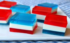 Red White and Blue Finger Jello- make it red and white for Canada day!