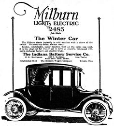 Vintage Newspaper Advertising For The 1919 Milburn Electric Automobile In The Indianapolis News, December 13, 1919.