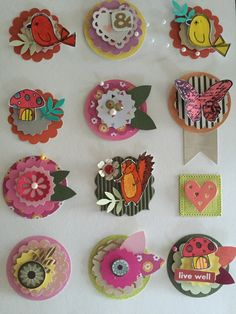 Craft, scrapbook Embellishments, flower, bird, butterfly, mushroom, squirrel, variety pack of 12 count. by Thepompouscardmaker on Etsy