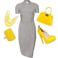 Dapper yellow and gray, created by randomwonder1 on Polyvore