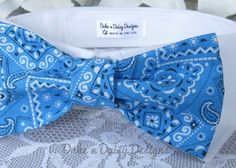Cowboy Blue Dog Bow Tie Fancy Bow Tie Dog Collar by DukeNDaisyDesigns, $28.50 http://www.etsy.com/shop/DukeNDaisyDesigns