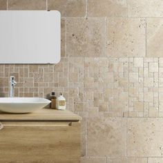 Travertin sol et mur beige effet pierre Travertin l.40.6 x L.40.6 cm | Leroy Merlin
