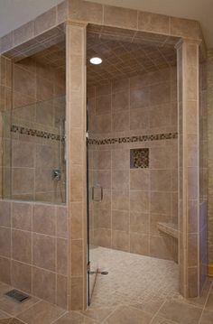 doorless bathroom shower