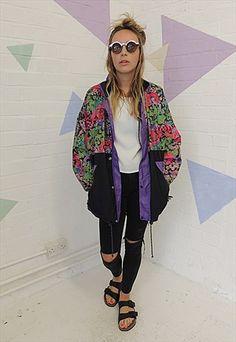 Vintage 80's Abstract print panel Windbreaker Jacket