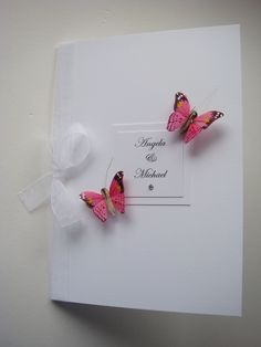 Butterfly Order of Service/Menu with organza ribbon. Shown in Pink