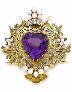 A cultured pearl amethyst and diamond-set pendant/brooch. The heart-shaped amethyst set in an openwork foliate surround with clusters of cultured pearls and brilliant-cut diamond highlights.