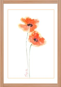 Poppy Flower Art, Original watercolor painting with signed, Wall decor, Home…