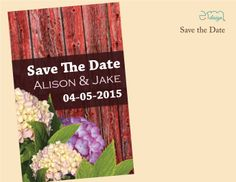 Country Wedding Save The Date. Red Barn Wedding Save The Date.  Country Barn Flowers Wedding Invitation by EmDesign #countrysavethedate #engaged