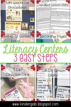 3 Easy Steps for Effective Literacy Centers in kindergarten! Get detailed lesson plans. ideas, printables, and more! Primary Teaching, Kindergarten Activities, Classroom Activities, Teaching Resources, Teaching Ideas, Classroom Ideas, Teaching Writing, First Grade Teachers, Kindergarten Teachers