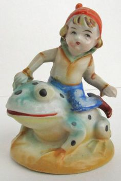 Vintage Ceramic Occupied Japan Figurine - Pixie Elf Riding Frog Toad Polka Dots