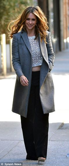 Classy: Jennifer paired her pretty top with black trousers, a grey woolen coat and open-toe heels, not to mention a fashionable Louis Vuitton handbag, #Louis #Vuitton #handbags  https://www.youtube.com/watch?v=g0t2jW5dm5M  RayBan Sunglasses outlet, Ray Ban Sunglasses for cheap
