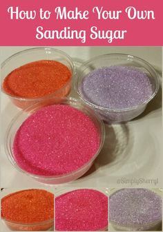 How to Make Your Own Sanding Sugar. Sanding Sugar was once limited to special events at our house. But now that we have mastered making it, Cake Cookies, Sugar Cookies, Cupcake Cakes, Cupcakes, Fondant Cakes, Cake Decorating Techniques, Cake Decorating Tips, Cookie Decorating, Make Your Own