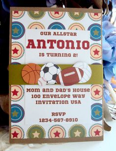 Sports Birthday Invitation Baseball Birthday by TooCuteInvites, $25.00