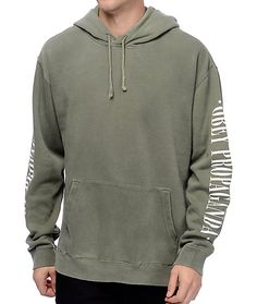 The New Times Propaganda dusty light army green hoodie from Obey features Obey Propaganda text graphics on both sleeves. This vintage olive hoodie is finished with a soft fleece lining for supreme comfort.