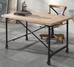 Wood Metal Desk, Industrial Antique Iron Vintage Unique Office Front Modern Chic
