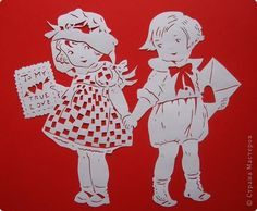 boy and girl w/valentines Scroll Saw Patterns, Cool Patterns, Kirigami, My Funny Valentine, Valentines, Paper Cutting, Diy And Crafts, Paper Crafts, Vinyl Paper