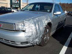 Duct tape car repair or known in eric's world as redneck chrome