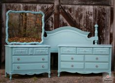 Painted French Provincial Dresser Set by FunCycled  www.funcycled.com