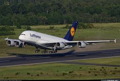 Lufthansa Airbus A380 taking off into the friendly skies  •