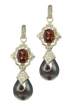 18k Gold and Diamond Garnet Pearl Drop Earrings by Erica Courtney®